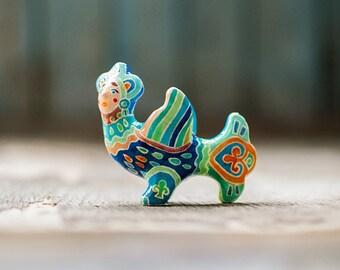 Blue Ominous Bird Totem miniature, fantasy mythological bird figurine, multicolor folk home decor, blue green and orange