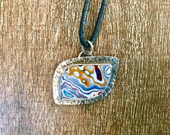 Fordite Blue and Sterling Pendant on Black Leather Cord