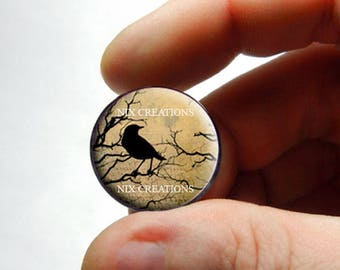 Glass Cabochon - Raven Design 1 - for Jewelry and Pendant Making