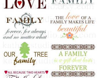 Instant Download - Family Sayings and Sentiments Clipart for Scrapbooking, Card Making, Personal and Commercial Use 34