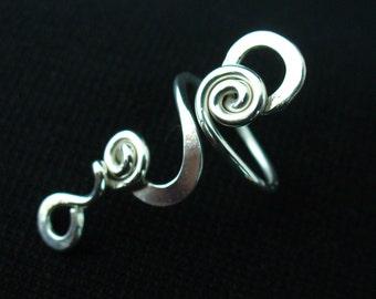 Sterling Silver Toe Ring for Women Long Twisted Toe Ring Adjustable Midi Ring Twist Midi Ring Knuckle Ring Silver Toe Ring Twisted Toe Rings