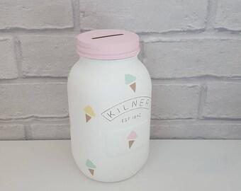 Ice Cream Kilner Money Box, Ice Cream Kilner Money Jar,  Ice Cream Decor, Girls Bedroom Decor