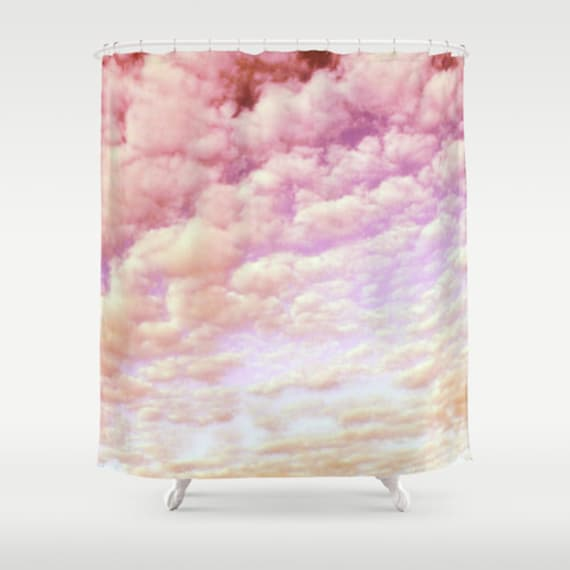 Cotton Candy Sky Shower Curtain, Cloud Bathroom, Colorful Sky Home Decor, Pink Shower Curtain, Nature Home Decor, Whimsical, Cloudy, Holiday
