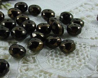 Czech Glass Beads Jet Bronze Picasso Donut 11x7mm- 10 beads