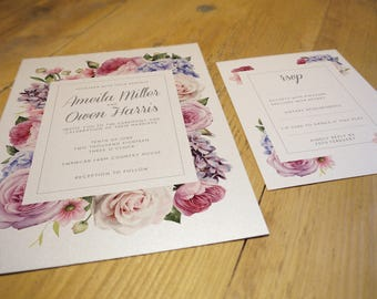 Secret Garden Wedding Invitation Suite • Qty 150 - 199 • including Envelopes and matching RSVPs