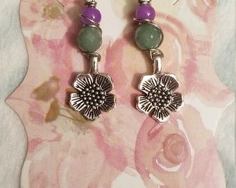 Green Adventurine, Purple Agate, Wire Wrapped, Floral Earrings
