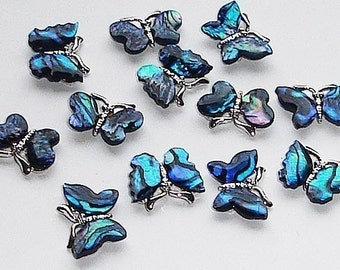 12 Vintage Paua Shell Butterfly Charms