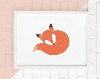 Fox Wall Art, Fox Nursery Print, Fox Print, Woodland Animal Wall Art, Kids Nursery Decor, Animal Nursery Art, Boho Nursery Art, Fox Poster