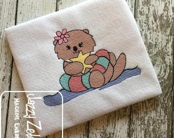 Girl Otter in intertube sketch embroidery design - otter embroidery design - otter sketch embroidery design - summer embroidery design