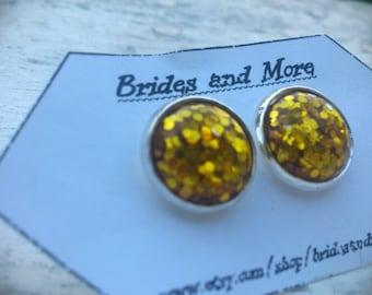 Gold Glitter Studs Gold Glitter Earrings Gold Earrings Glittery Earrings Glittery Studs Bling Sparkly Earrings Sparkly Studs Golden Party