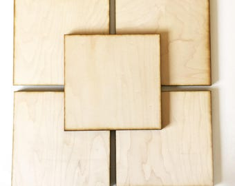 "Unfinished Wood Squares 5"" inch Set of 5, wood square, Holiday Craft supplies, laser cut wood, wood shape"