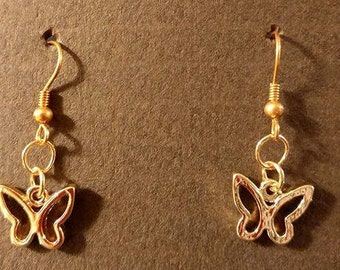 Small rose gold butterfly with rose gold fishhook