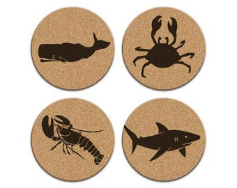 WHALE SHARK LOBSTER Crab Nautical Coastal Cork Coaster Set Of 4 Home Decor Barware Decoration