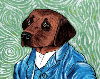 Lab Dog Vincent Van Gogh Greeting Note Card