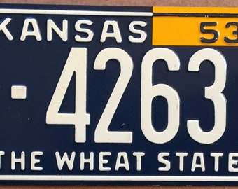 1953 Wheaties Collectible Children's Bicycle License Plate State of Kansas General Mills
