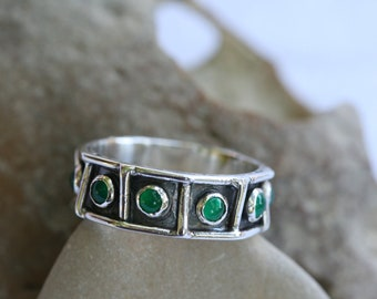 Green Agate Ring, Handmade Ring, Sterling Silver Ring, Net Silver Ring, Green Stone Ring, Multistone Ring,