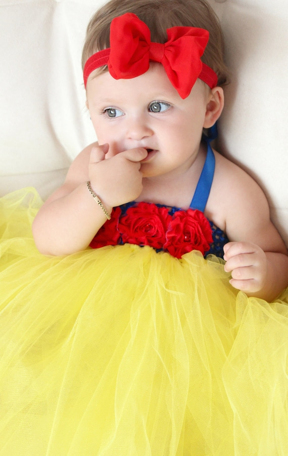 Beautiful Snow White Tutu Dress Costume With Red Hair Bow For
