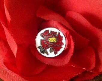 Vintage Cloisonne Button. Japan. Red Rose.