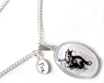 The Victorian Wildlife Alphabet - F is for Fox - silver plated oversized NECKLACE