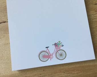 vintage pink bicycle notepad, stationery, bike basket with flowers, to do list