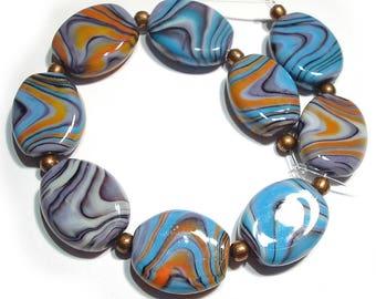 Handmade Glass Lampwork  Beads, Zen Tiger Tabs, SRA Beads