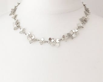 Silver and Yellow Gold Hydrangea Neckpiece (wedding necklace,bridal necklace, hydrangea necklace, fower necklace)