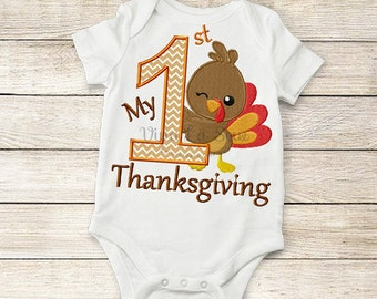 Instant download Thanksgiving / Fall My First Thanksgiving Turkey Appliqué Embroidery Design