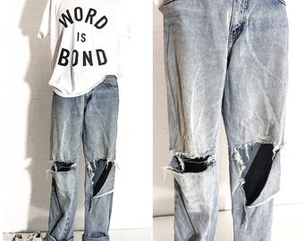 90s Clothing 90s VINTAGE Clothing RIPPED JEANS Men Destroyed Jeans Distressed Jeans Vintage Jeans 90s Grunge Clothing 90s Grunge Clothes 32