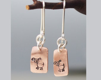 Copper Dog Doggie or Cat Earrings Avail in all Sterling Silver Recycled metal