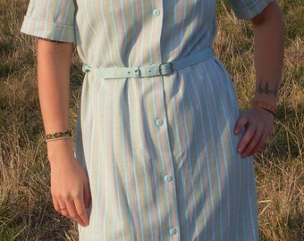 Pastel Stripe Dress, Pastel Rainbow Stripe, Tea Dress, Summer Dress, Day Dress, Pastel Goth Dress, Kawaii Dress, Pastel Grunge, Hipster