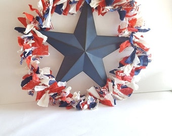 Metal Star Ragged Flag Door Wreath July 4th Patriotic, USA, Fourth, America, Red, White, Blue, Star Spangled, Party, Picnic