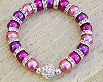 Purple Shades Sparkly Rhinestone Disco Ball Stretch Elasticated Bracelet