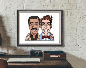 Science Guys Art Print, Neil deGrasse Tyson + Bill Nye, Shipping Included (U.S.), 8 x 10