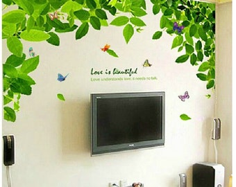 Green tree wall decals green leaves vinyl wall decals butterfly decal wall decals leaves Wall Stickers Removable decorative wall stickers