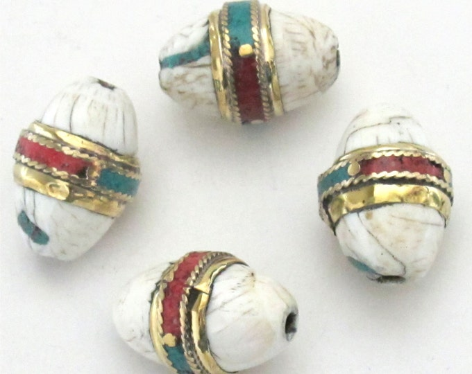 2 BEADS - Large thick Oval shape ethnic naga conch shell bead in brass band with  turquoise coral inlay - CH037