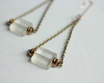 Glass Earring with Brass Discs Dangle Earring