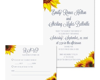Sunflower Wedding Invitation & RSVP Digital Available
