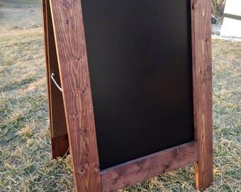 Rustic A-frame sandwich chalkboard red oak finish standing sidewalk chalk board double sided black board 2 sided A-frame rustic farmhouse