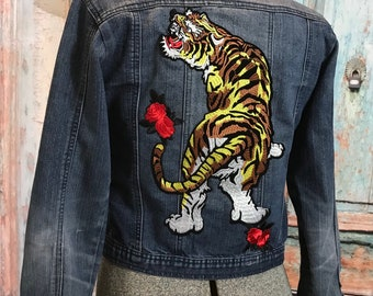 Denim Jacket / Custom Made / Small /Tiger with roses