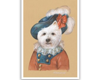 Westie Art Print - the Student - Dog Lover Gifts - Living Room Dog Decor - Pet Portraits by Maria Pishvanova