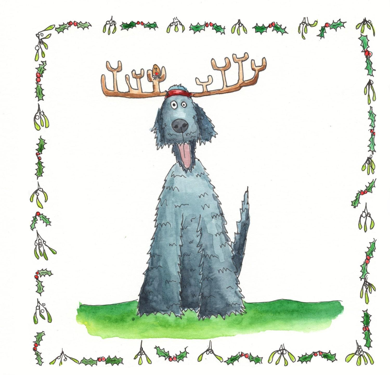Wolfshund Weihnachtskarte Wolfhound Karte Hund Karte Hund