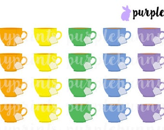 Rainbow Hot Tea Icons // Planner Stickers!