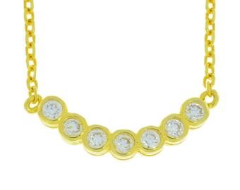 14Kt Yellow Gold Plated CZ Bezel Design Pendant