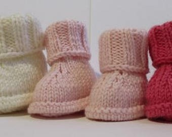 Trio of baby booties, baby pink, white and fuchsia cashmere and lambswool 0/3 months