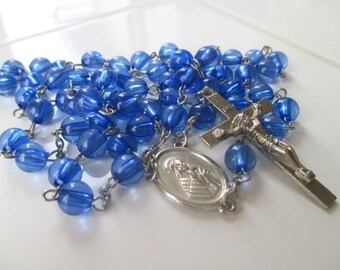 Rosary Prayer Beads * Mary And The Sacred Heart Of Jesus Medals * Blue Beads * Catholic Gift