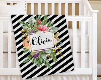 Personalized Baby Blanket, Bold Frame Floral Girl Baby blanket, Receiving Blanket, Crib Blanket, Swaddling Blanket, Baby Shower Gift