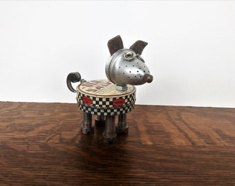 Found object robot dog - Assemblage Art - Recycle Upcycle sculpture - dog lover gift