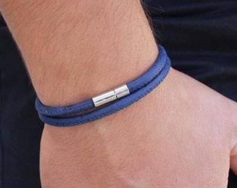 Men's Vegan Bracelet Vegan Christmas Gift for Vegans Mens Blue Cork Leather Bracelet Faux Leather Bracelet Wrap Bracelet Vegan Cork Leather