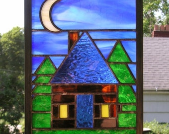 """Stained Glass Window Panel--Cabin in the Woods-  11  7/8"""" tall x 8"""" wide"""