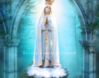 "Virgin Mary print, Our Lady of Fatima,Catholic art, 8x10"" or 11x14"" religious print, wall decor a perfect religious gift idea."